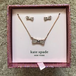 Kate Spade BRAND NEW IN BOX rose gold bow set